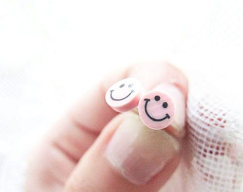 Smile earrings pale pink cute smile face by LePetitParadisPerdu