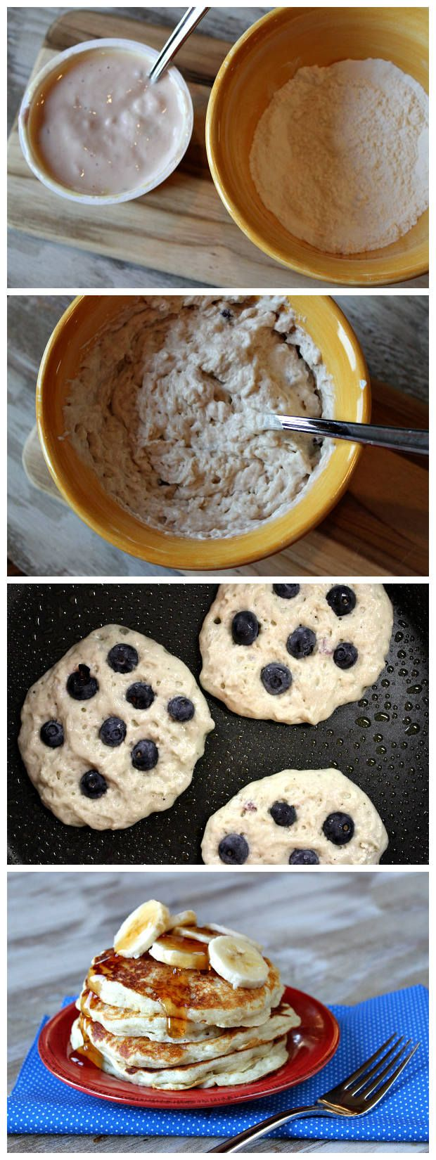 Ingredients: One 5.3-ounce container nonfat Greek Yogurt (any flavor- see *Tips) 1 large egg (or 2 large egg whites) 1/2 cup Gold Medal® All-Purpose Flour 1 teaspoon baking soda 1/2 cup fres…