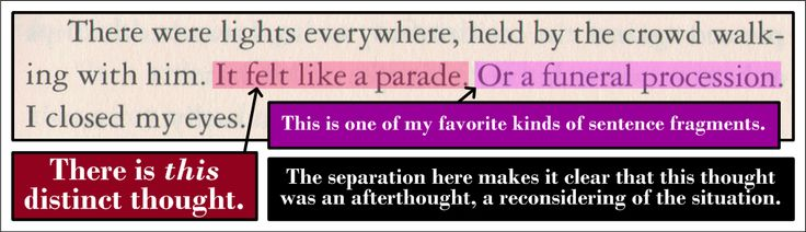 An example of a good sentence fragment.