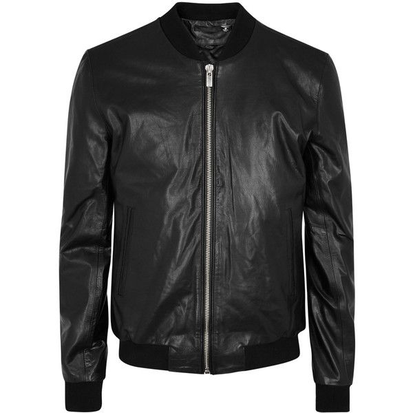 BLK DNM Black leather bomber jacket ($765) ❤ liked on Polyvore featuring men's fashion, men's clothing, men's outerwear, men's jackets, mens leather flight jacket, mens zip jacket, mens leather bomber jacket, mens leather jackets and mens padded bomber jacket