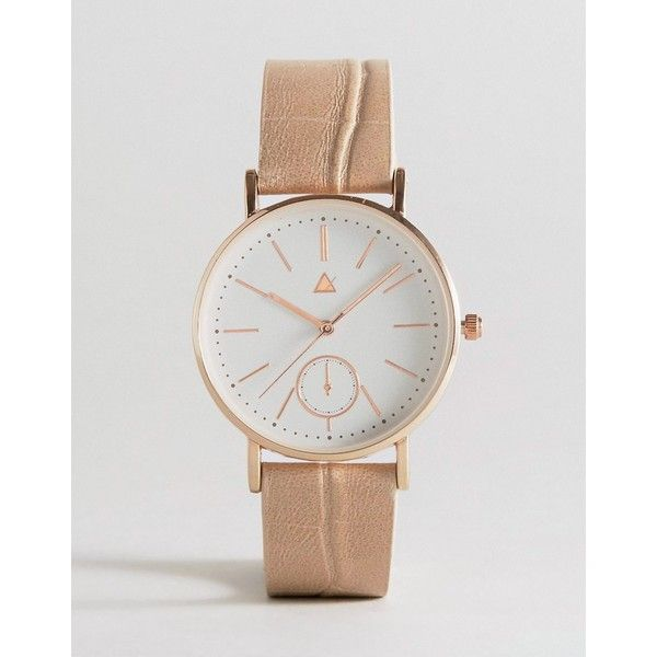 ASOS CURVE Large Clean Dial Watch With Faux Crocodile Strap ($31) ❤ liked on Polyvore featuring jewelry, watches, cream, plus size, pin jewelry, cream jewelry, imitation jewellery, asos curve and crown jewelry
