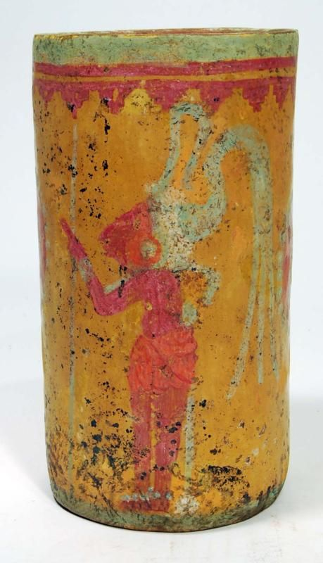 Mayan Pottery Stucco Painted Ceremonial Cylinder Ca. 500 to 800 AD.