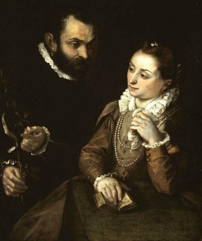 BAROCCI, Federico Fiori. Double Portrait with the Della Rovere Family Emblem. Oil on canvas. Private collection