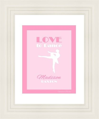 Valentines Day Gift. Ballet Dance Art Print. Personalized with name and colour. Design by Gumball Prints. You print and frame.