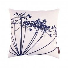 Dill linen cushion – white / ink