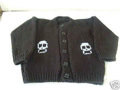 Black & Pale Blue Skulls Knitted punk goth baby cardigan