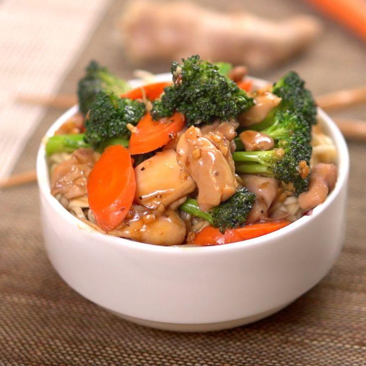Teriyaki Chicken and Vegetables!!! Chicken, broccoli, garlic, carrots, peper flakes, evoo, ginger, red sod soy sauce, cornstarch, honey