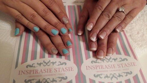Mother & daughter mani! #Turquoise #Frenchnails #FrenchPaint #FrenchMani #mani #PolishPro #nailswag #silver #glitter #DreamingofBlue