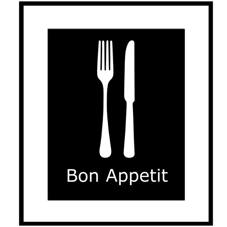 Bon Appetit - 11x14 Utensil Kitchen French Quote Print - Blue, White, Green, Gray, Black, and More. $25.00, via Etsy.