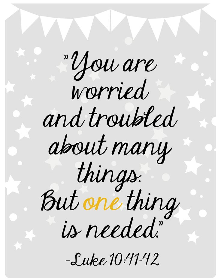 Many Mercies: You are worried and troubled about many things. But one thing is needed. - Luke 10:41-42
