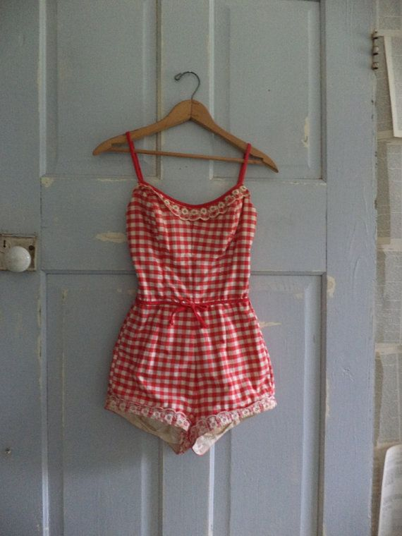 Omg. I. Seriously. NEED! 1950s Bathing Suit Red 50s One Piece Bathing by SassySisterVintage,