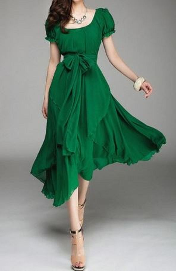 So Gorgeous! Love the Bow Tie Belt! Emerald Green Pleated Belt Irregular Hem Puff Sleeve Chiffon Summer Dress