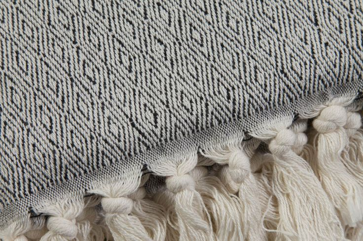 Ottoloom Lucerne Throw in Black.  Hand loomed in Southern Turkey with certified organic cotton.