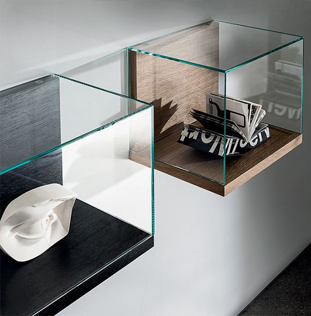 The Nest cases collection is an elegant solution, essential and modular, to transform every space into a fascinating display. The extralight clear glass case is closed for display purpose or opened for daily use. #interior #home #decor #interior architecture #design