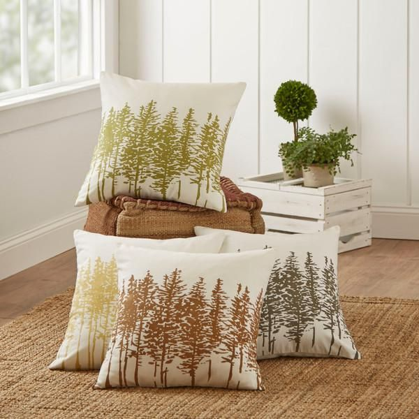 Darcy Pillow Cover | Featuring a decorative tree pattern, this printed cotton pillow cover includes a hidden zipper.