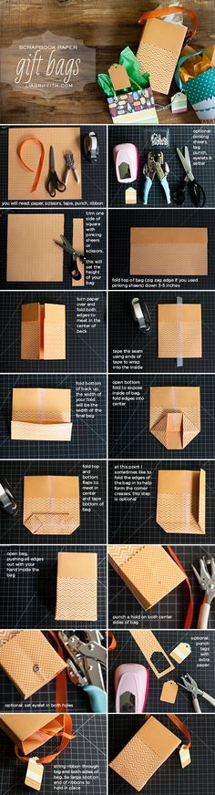 Tutorial para personalizar bolsas de regalo con papel de scrapbook. #ManualidadesParaFiestas