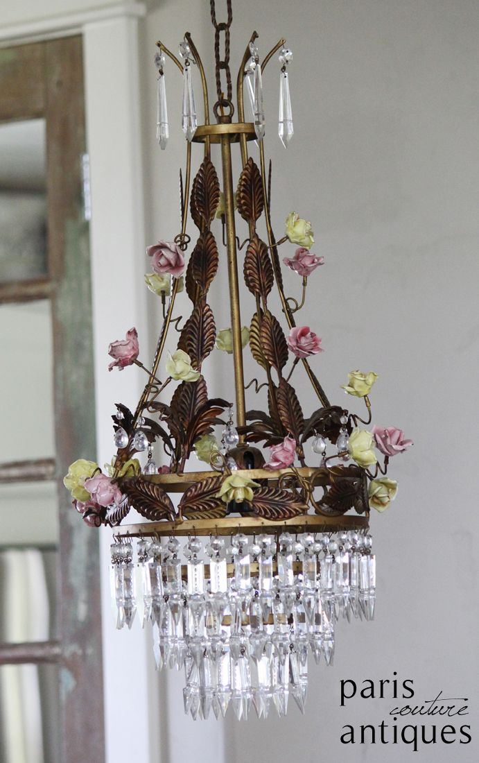 Rare Incredible French Porcelain Rose Tole Crystal Chandelier