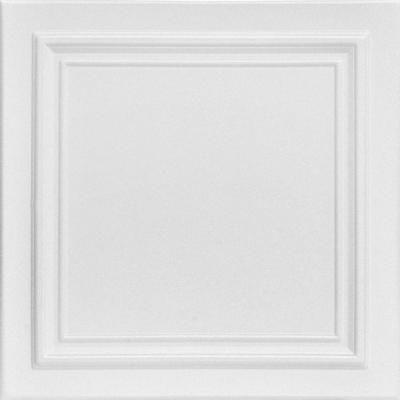 A La Maison Ceilings Line Art 1.6 ft. x 1.6 ft. Styrofoam Glue-up Ceiling Tile in Plain White (21.6 sq. ft./Case)-R24pw-8 - The Home Depot