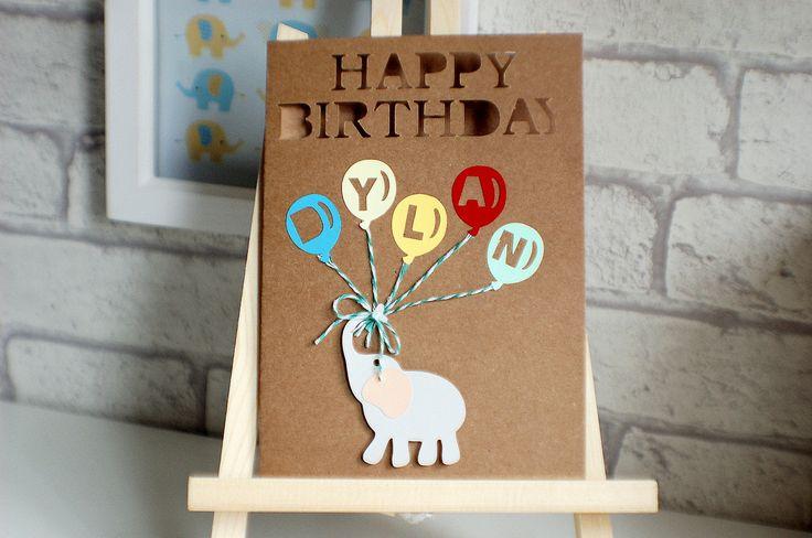 Personalised Birthday Card, Children's birthday card, Elephant, Happy Birthday, by TPDWeddingStationary on Etsy