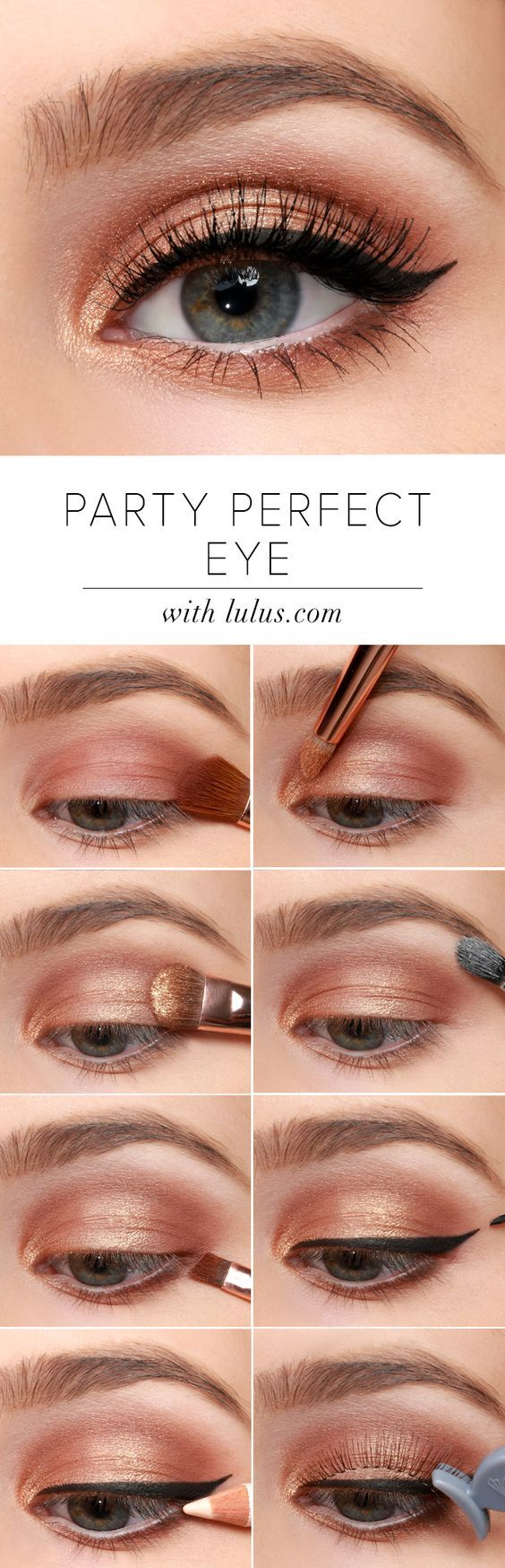 Ideas for wedding day make-up - wedding make up inspiration. Bronze is big. For daytime or evening, The Nudes Palette can create an array of natural beauty looks with its 12 taupe, brown, and golden shades. Add winged liner to lend a retro feel to modern eyeshadow.