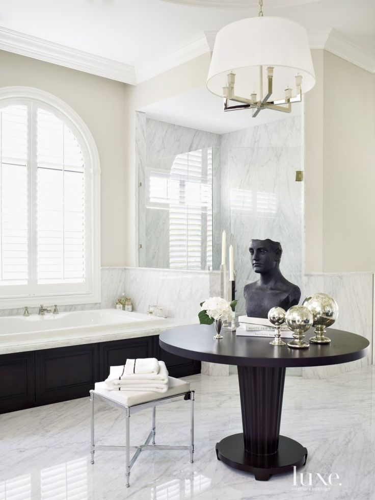 Contemporary Cream Bathroom with Dark Wood Table - Luxe Interiors + Design