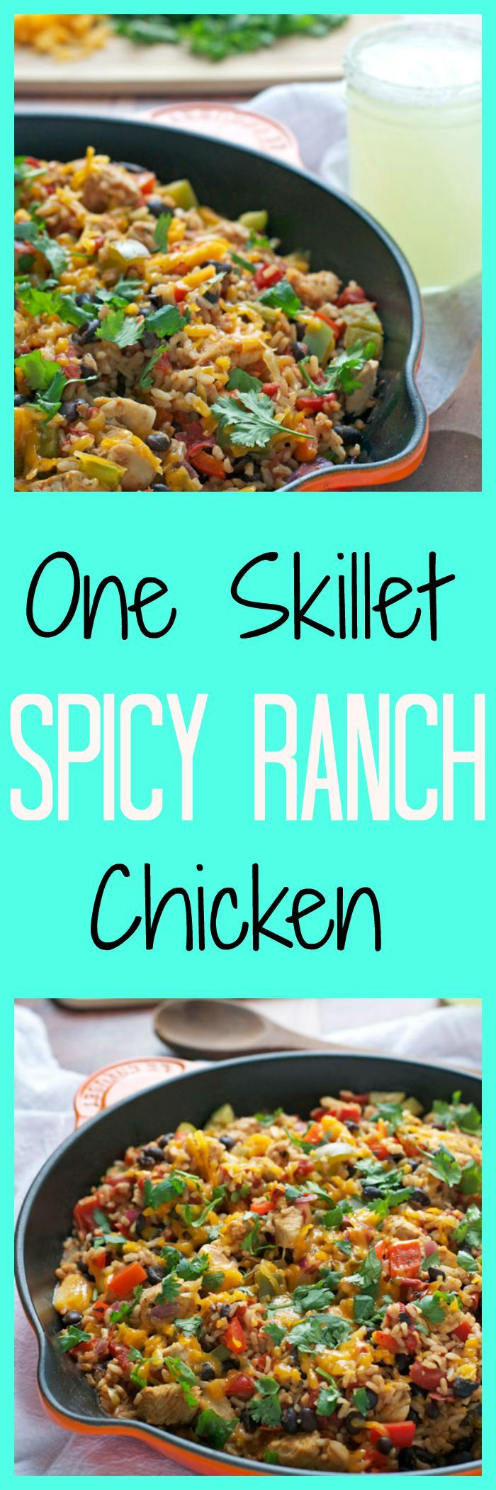 One Skillet Spicy Ranch Chicken (Dinner) (Chicken breasts, onion, Hidden Valley Spicy Ranch Mix, red pepper, green pepper, black beans, diced tomatoes, instant rice, chicken broth, shredded cheese, cilantro)