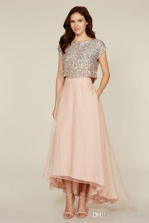 Sequin Bridesmaids Dresses High Low Two Pieces Prom Gowns for Women Pink Tea Length Vintage Girls Wedding Party Wear Cheap Custom Made Online with $90.82/Piece on Marrysa's Store   DHgate.com
