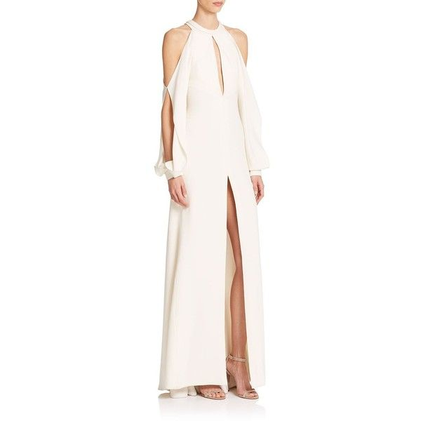 J Mendel High-Slit Silk Gown ($2,395) ❤ liked on Polyvore featuring dresses, gowns, apparel & accessories, ivory, long sleeve dress, ivory evening gown, pink evening dress, pink dress и pink ball gown
