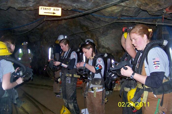 Colorado School of Mines Women Mine Rescue Team http://www.usmra.com/photos/~unitedstates/training.htm