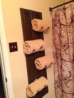 diy shutter towel rack, bathroom ideas, diy, repurposing upcycling, storage ideas, woodworking projects, Finished DIY Shutter Towel Rack made by Hello I Live Here