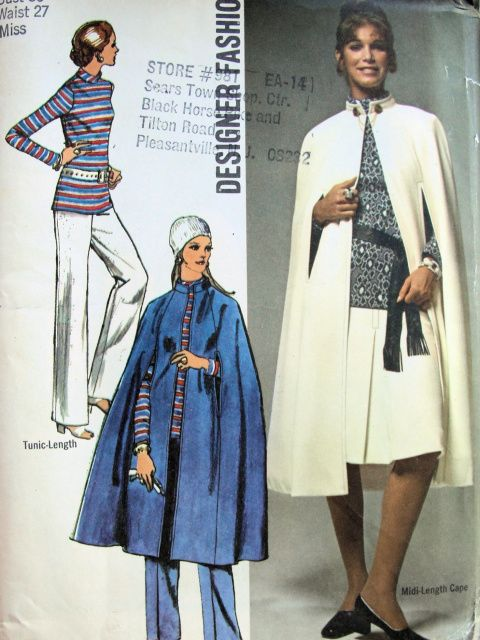 1970s Evening or Day Midi Cape Pattern Simplicity 9211 Designer Vintage Sewing Pattern Midi Cape Skirt Pants Tunic UNCUT Bust 34 American Hustle Fashions FACTORY FOLDED