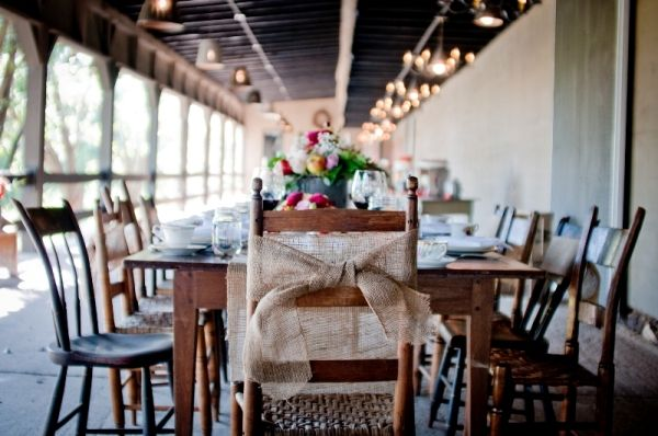 burlap chair bow #wedding