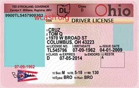 template Ohio drivers license editable photoshop file .psd