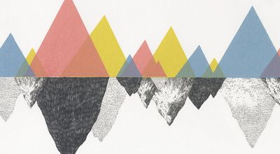 """mountains by jamie mills. stretched canvas, 36"""" x 20"""""""