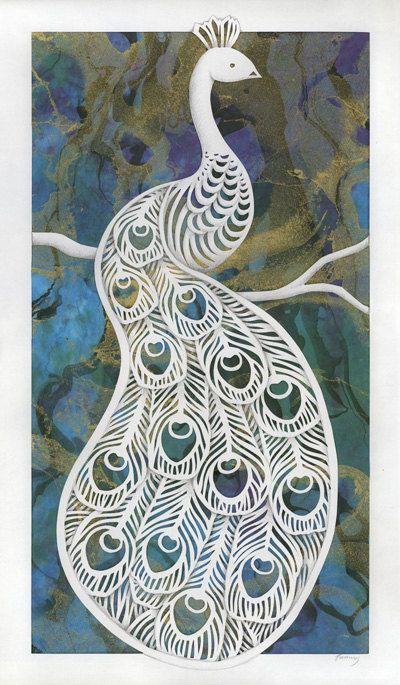 Peacock Original Papercut And Painting Stensiller