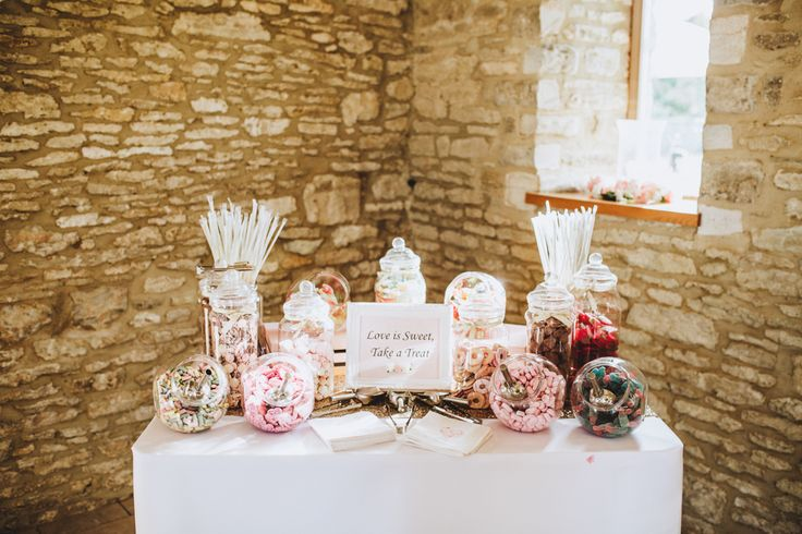 Sweetie Bar With Old School Pick n' Mix Favourites - Pink, Gold & Glitter Wedding Decor For A Romantic And Feminine Wedding At Caswell House With Bride In Kenneth Winston And Images by Frankee Victoria