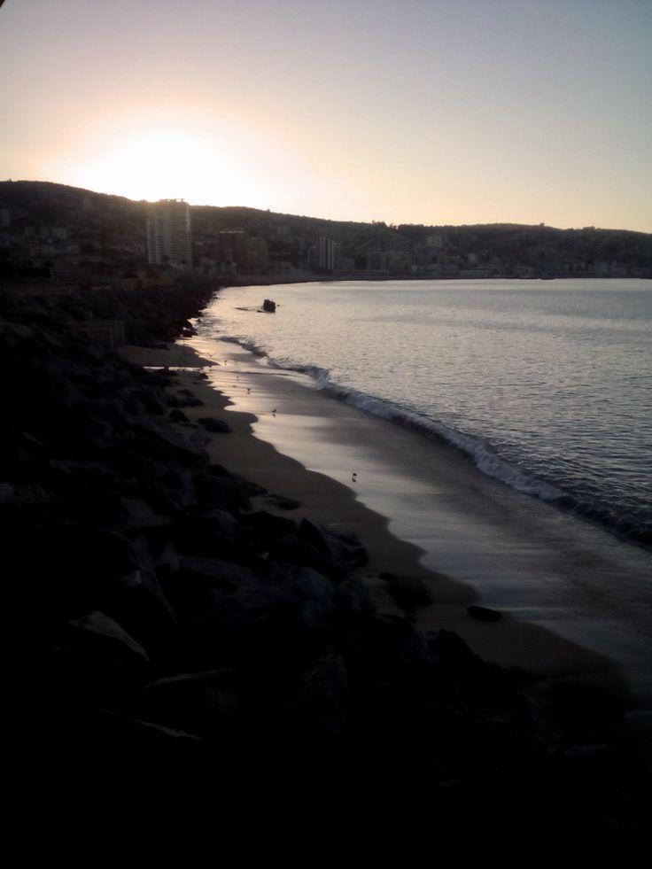 the beach of valparaiso en chile