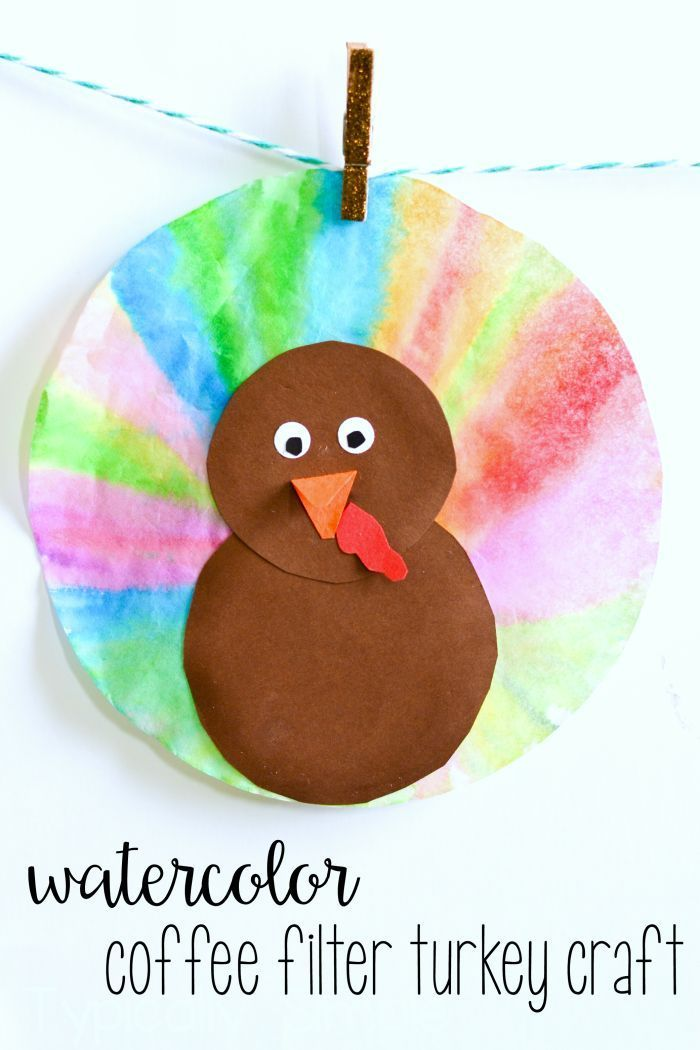 With just a few supplies, these watercolor coffee filter turkeys are a fun Thanksgiving craft to make with the kids. -http://TypicallySimple.com