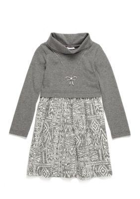 Sweet Heart Rose Girls' Turtleneck Aztec Print Dress Girls 4-6X - Gray/White - 6X
