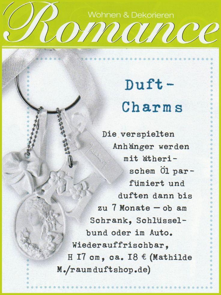 """Das Magazin """"Wohnen & Dekorieren Romance"""" stellt unseren Mathilde M. Duftschlüsselanhänger """"Marquise"""" als zauberhafte Anregung für ein Zuhause voller Harmonie vor >>> https://www.raumduftshop.de/katalog/mathilde-raumduft/mathilde-m-duftstein-schluesselanhaenger-marquise"""