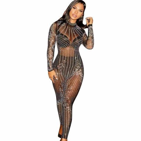 02b30c7396cb3 2018 Glitter Women Sexy Mesh See Through Rhinestone Skinny Jumpsuit ...