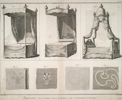 Lit à colonnes, lit à la duchesse, lit à la romaine et ouvrages