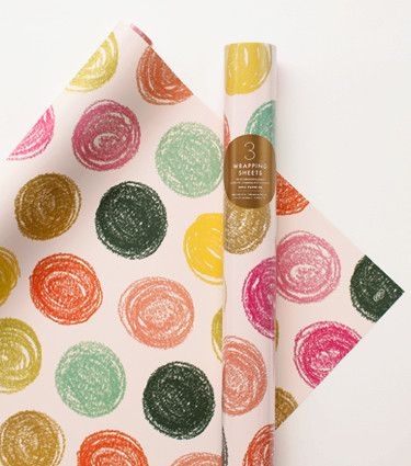Rifle Paper Co. - Party Dots Wrapping Sheets. Can DIY this with some crayons. :)