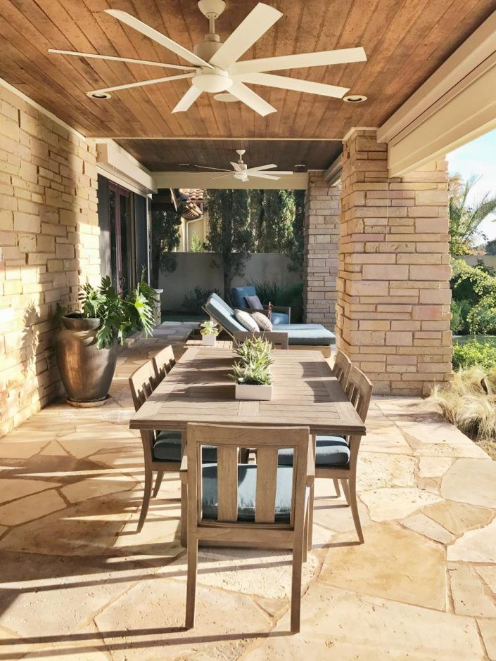 Design Ideas: Terrace With Ceiling Fans And Table. ceiling fan with light. eight blades ceiling fan. white ceiling fan. stone wall patio. wood ceiling. stone flooring. unfinished wood dining table. unfinished wood chair. metal floor vase.