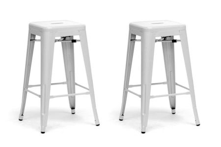 Modern Counter Stool In White - Set of 2