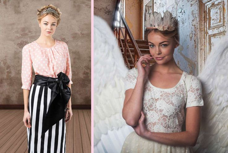 Designer fashion white lace tops and black and white stripe skirts. Summer outfits for day occasions. Tops with pink and white polka dots, perfect for that warmer weather!