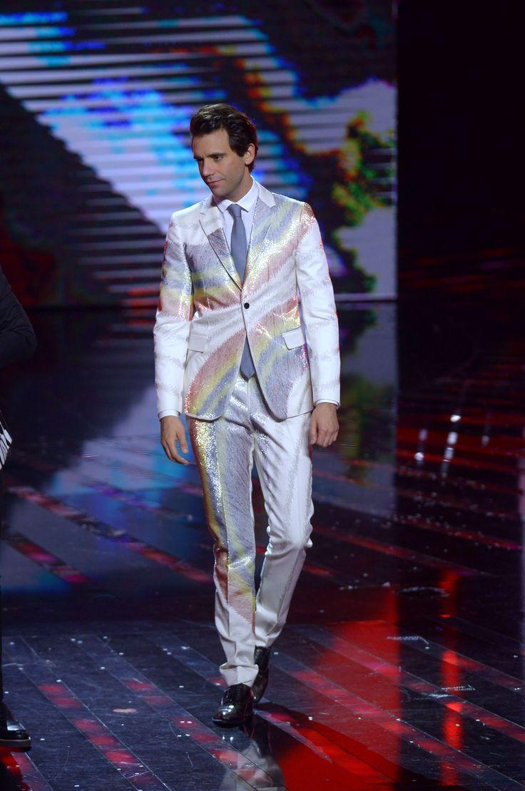Mika wearing a Valentino suit especially designed for him by Creative Directors Maria Grazia Chiuri and Pierpaolo Piccioli at X Factor Italia 2015, on November 19th, 2015.