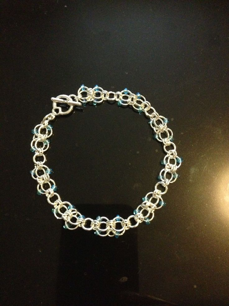 Chain maille and seed bead bracelet, silver plated