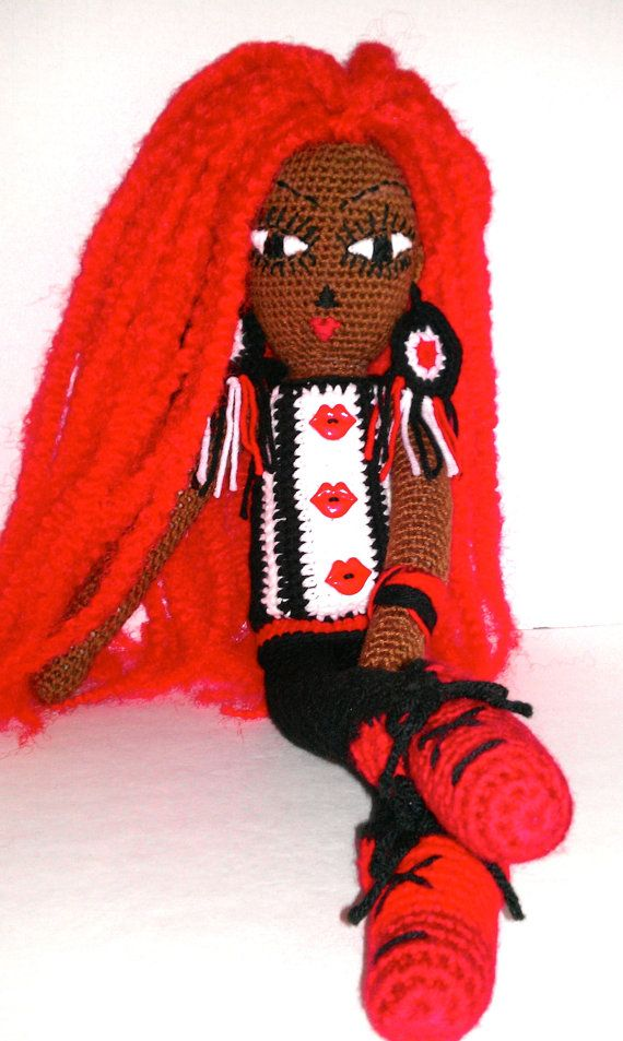 "Crochet 25"" African American Doll, Red Dreadlocks, Handmade, Red Black White Tunic, Amigurumi, Bee Love Doll"