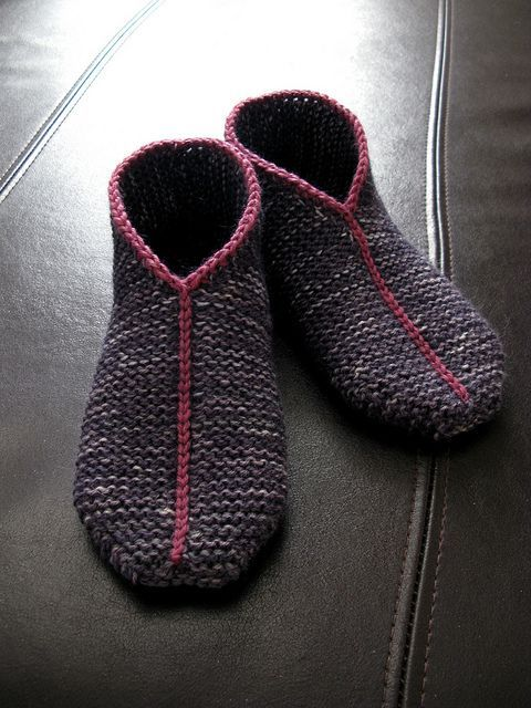 Free knitting pattern for Garter Stitch Slippers and more slipper knitting patterns